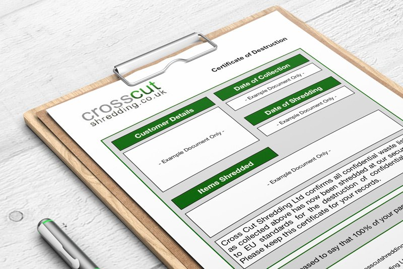 Crosscut Shredding Certificate