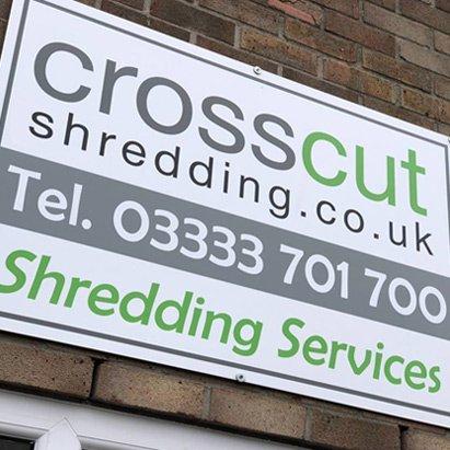 Crosscut Shredding Signage
