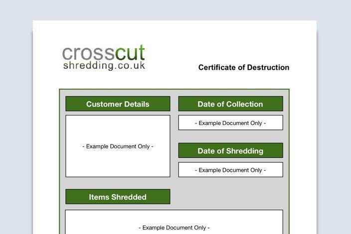 Crosscut Shredding Certificate of Destruction